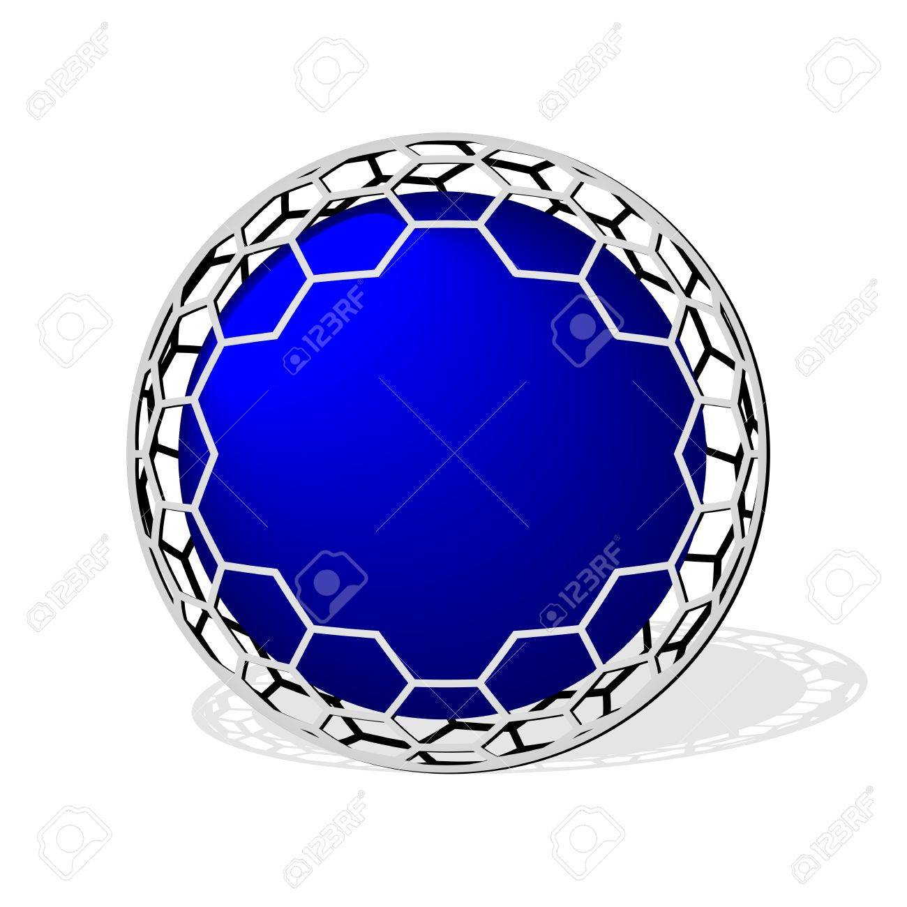 empty blue sphere icon with metal wire mesh Stock Photo - 20489117