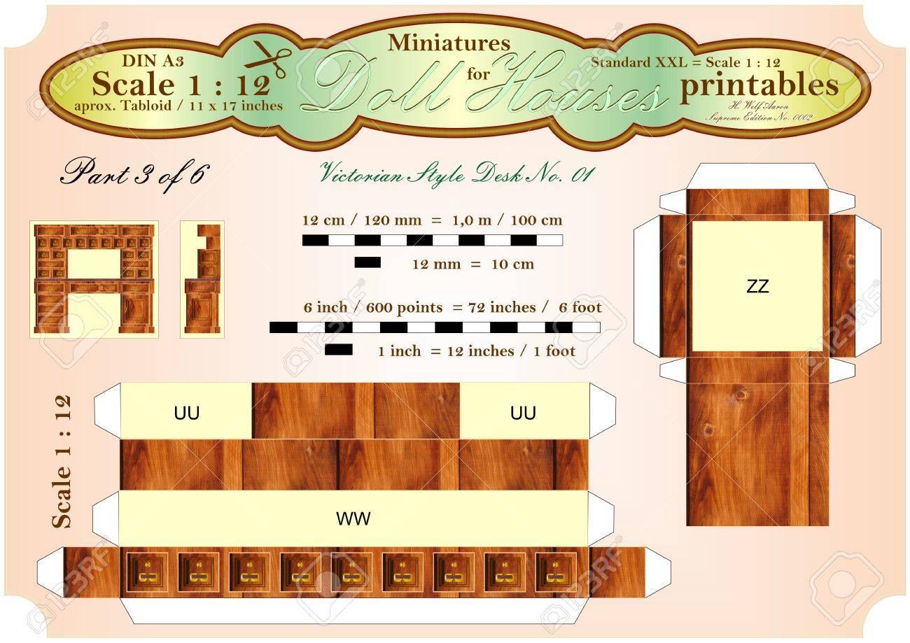 VICTORIAN BUREAU DESK 3 of 6 - DOLLHOUSE MINIATURES - printables