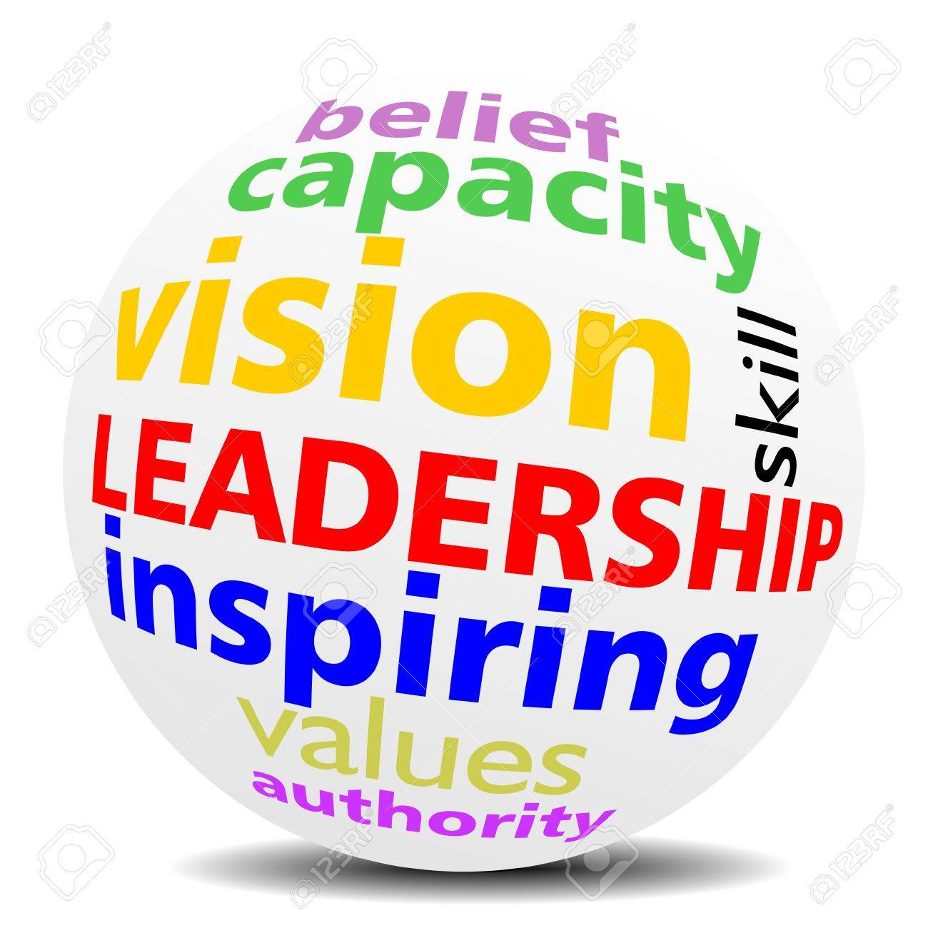 LEADERSHIP as a inspiring vision, word cloud or tagcloud in a magnifying SPHERE with a shadow Stock Vector - 21015503