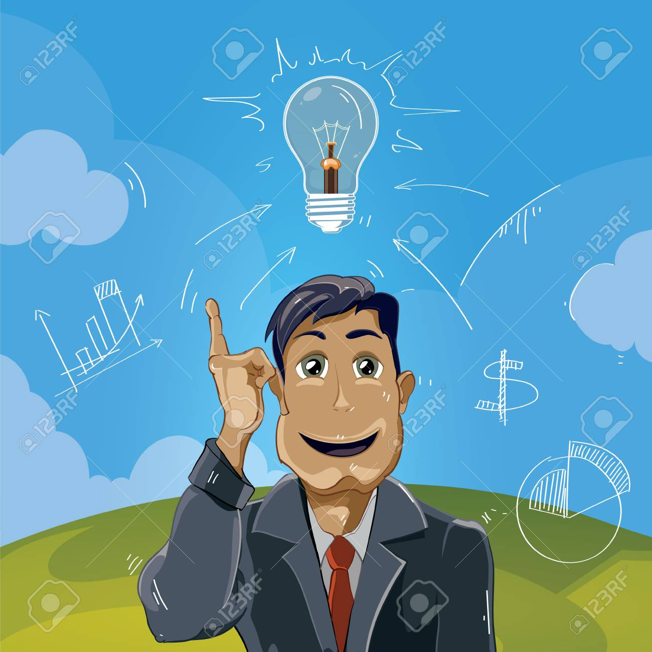 the idea came. Businessman pointing top. Concept picture - 51439322