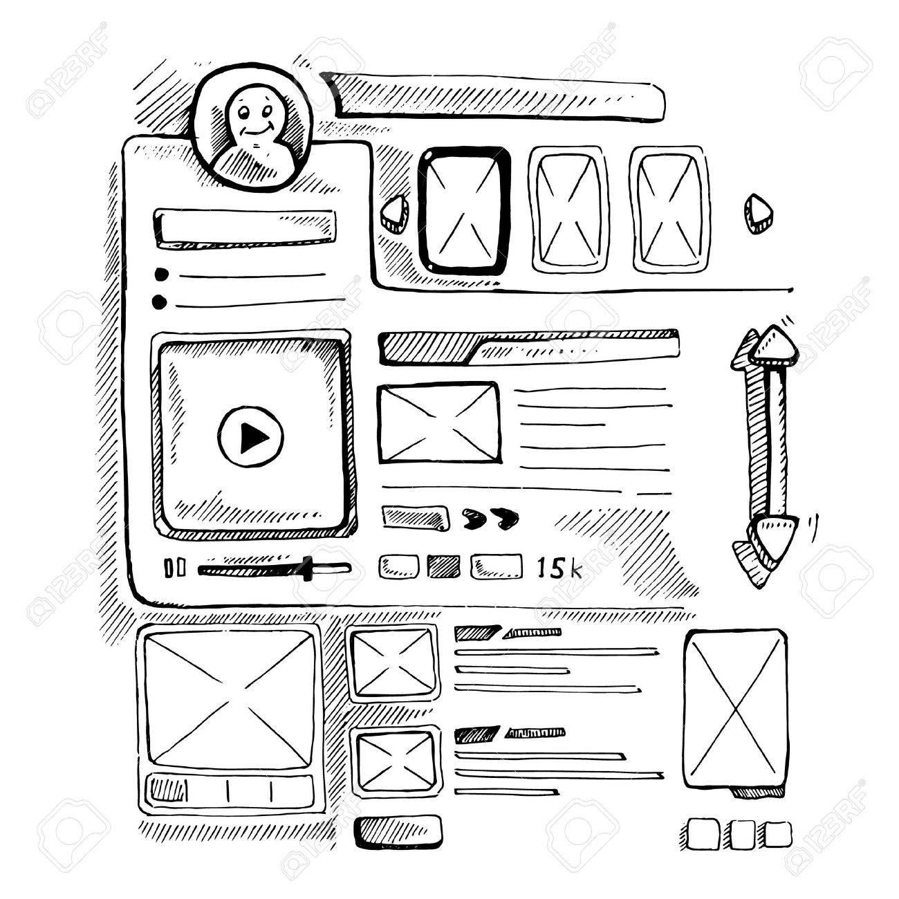 Wireframe UI Kit. Web Design Persönliche Seite Vorlage. Doodle Bild ...