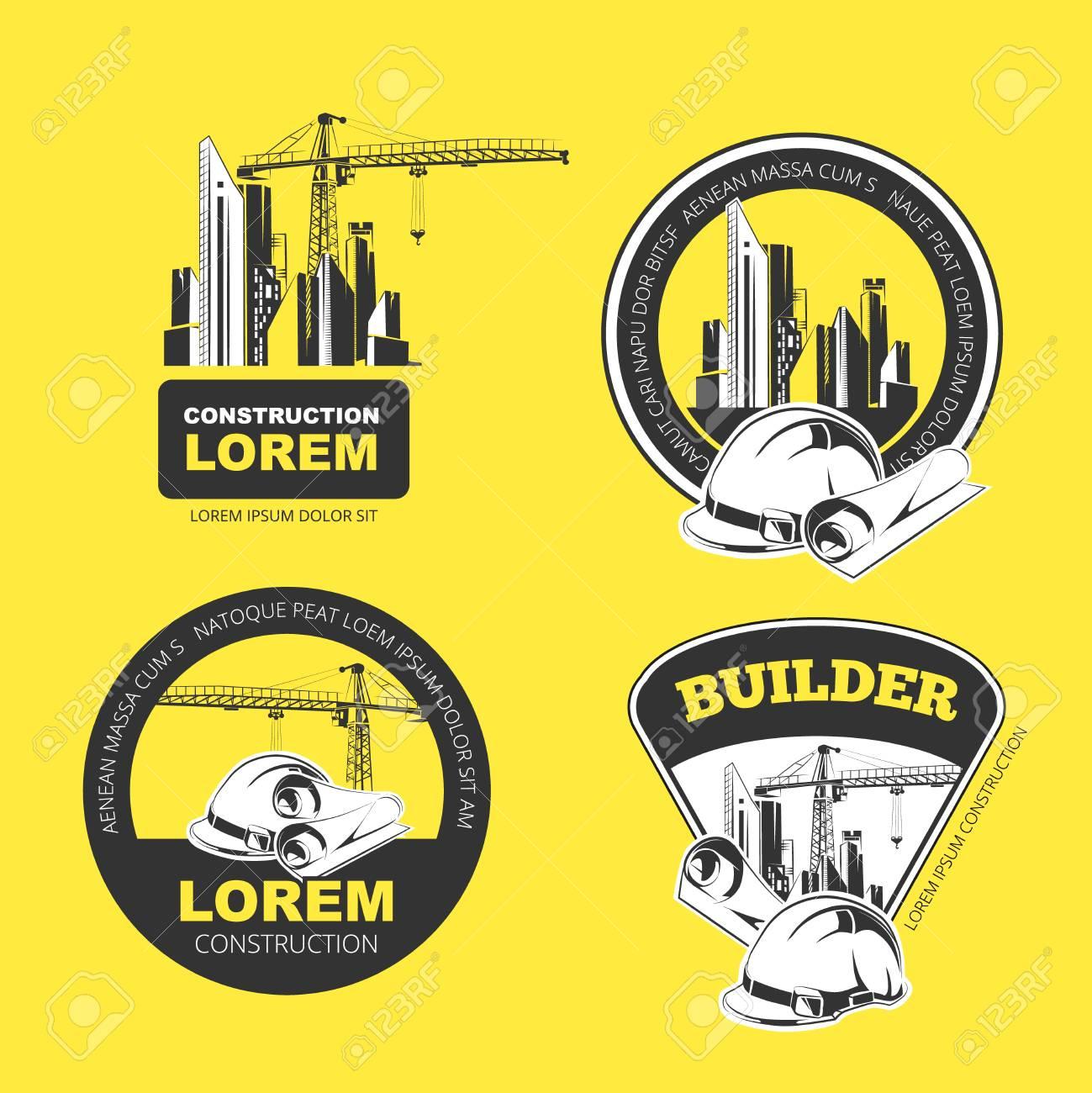 Empresa De Construcción De Color Logotipo, Etiquetas Y Escudos ...