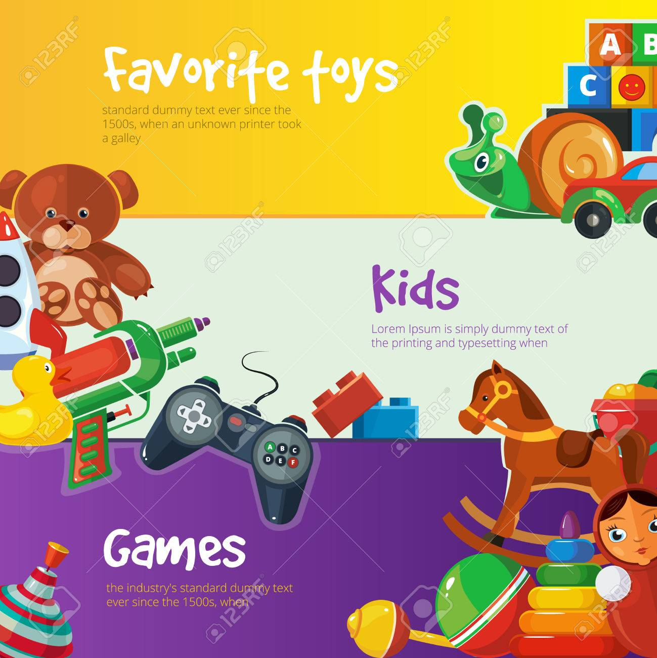 Toys Icons For Kids Isolate On Color Background Toys Vector