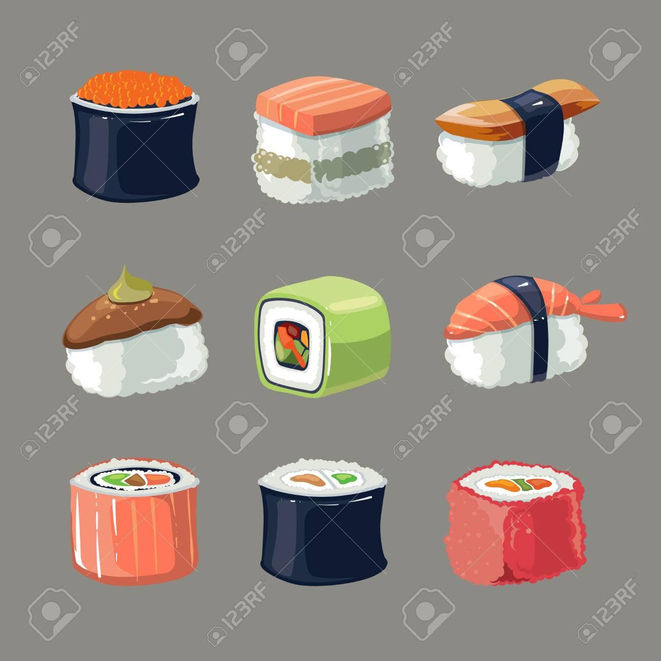 Vektor-Bild Set Von Sushi-Rollen Essen Und Japanische Meeresfrüchte ...