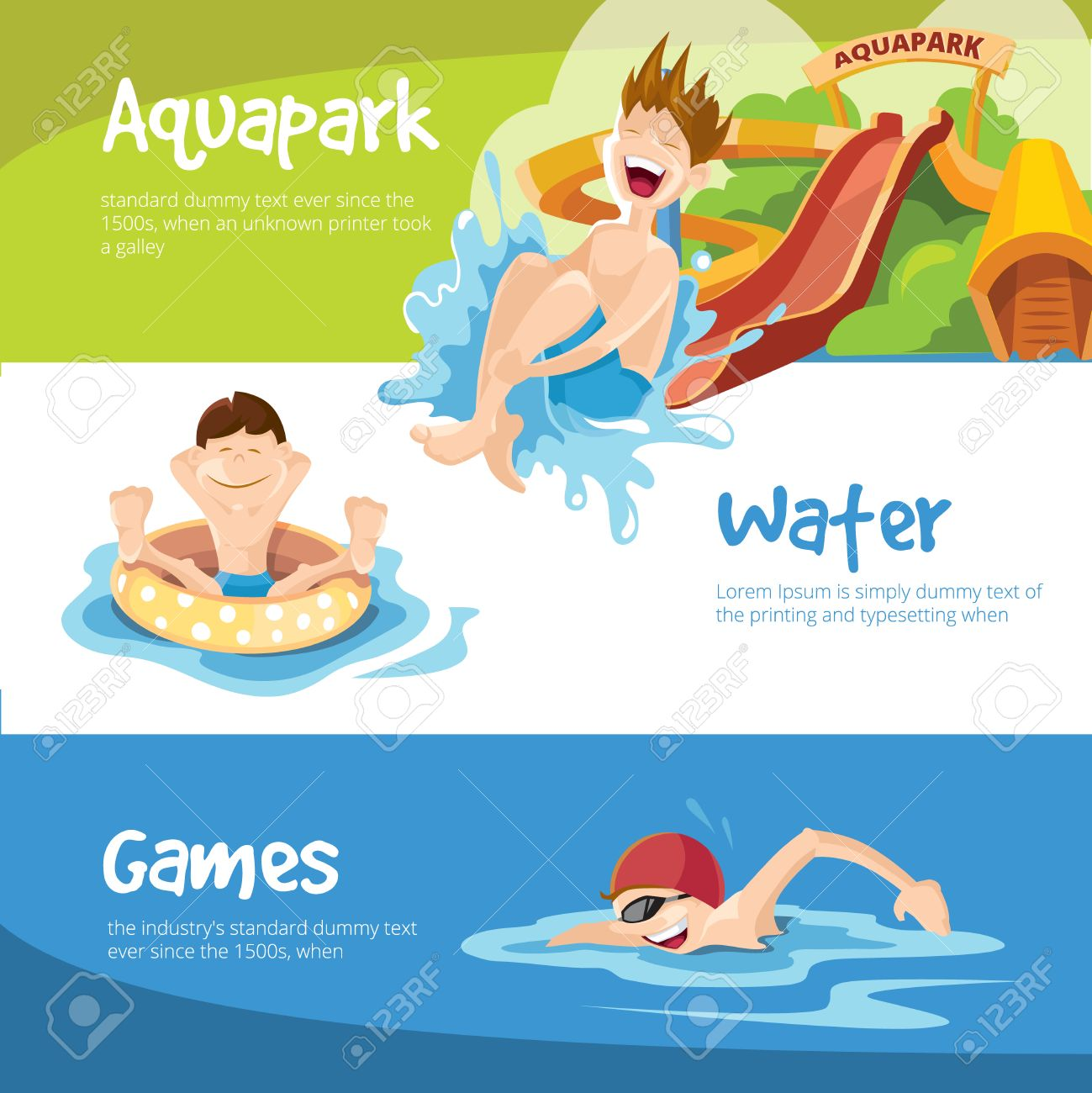 Vector illustration of water hills in an aquapark. The cheerful childrens rides on water hills. Boy swims in the pool. Set of web banners - 58183355