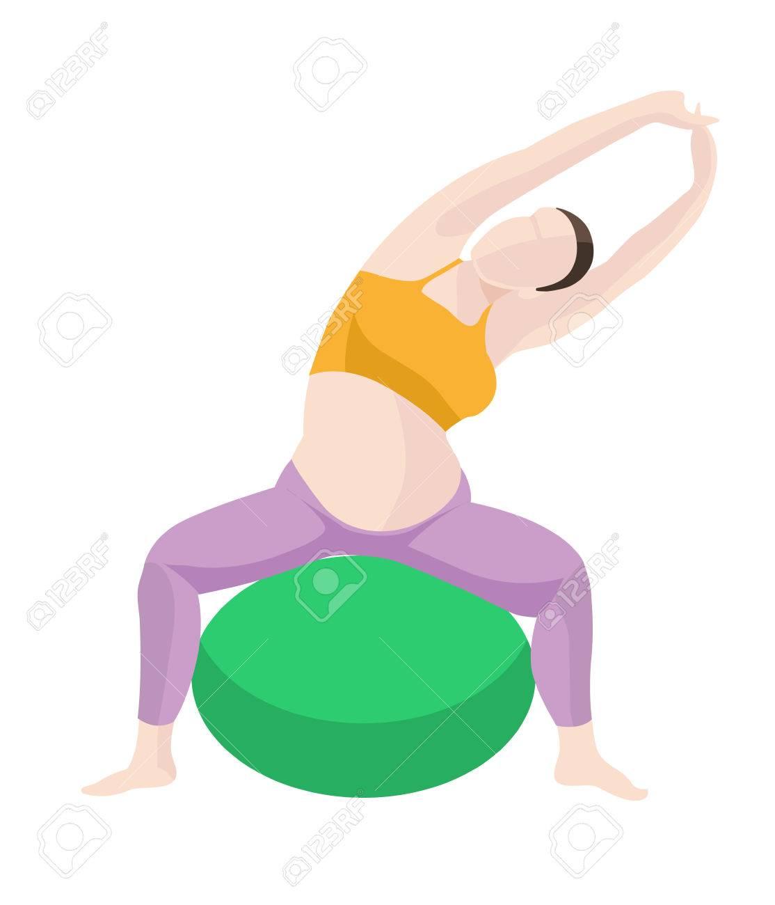 妊娠中の女性運動バランス ボールでヨガのベクトル イラスト白い背景