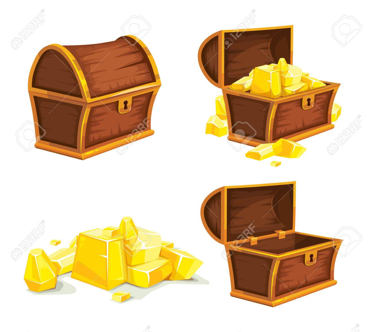 vector set of vintage wooden chest with gold, open and closed cover. isolated on white background. Picture for 2D game UI - 61348021