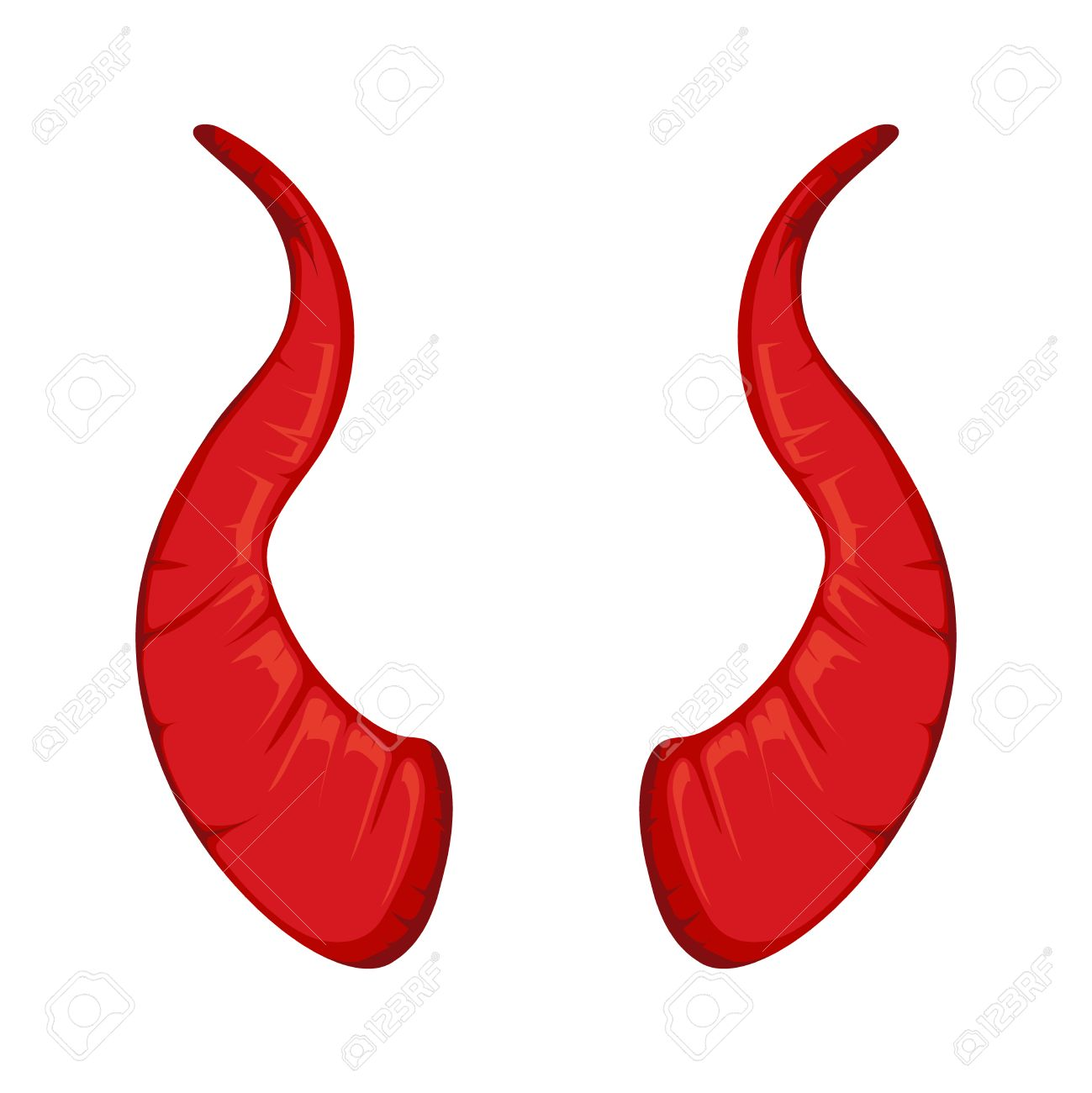 Vector Illustration Of Red Devil Horns Isolate On White Background Picture For Halloween Party Stock