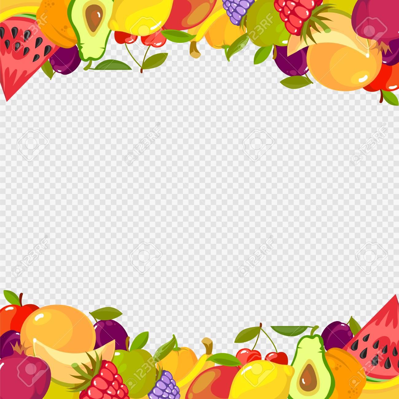 Fruits frame  Healthy vitamin food watermelon cherry lemon raspberry