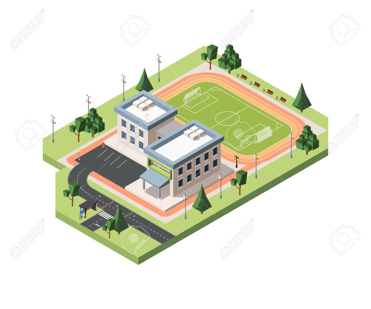 High school soccer field vector isometric illustration - 138471631
