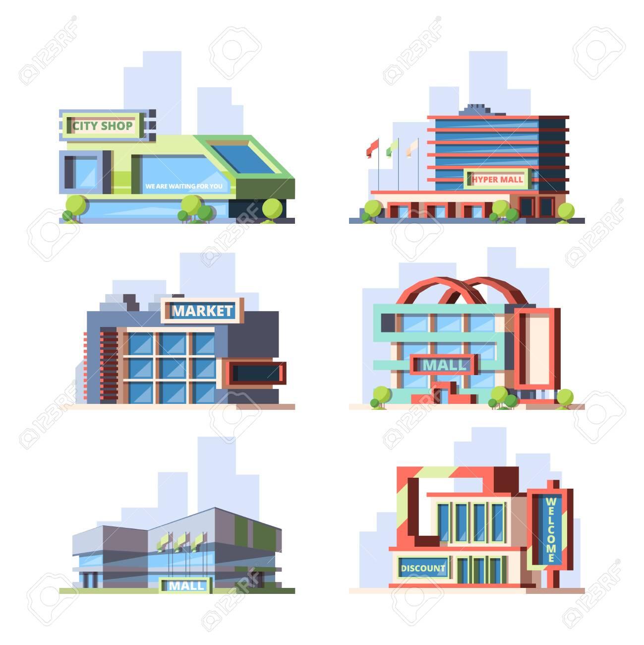 City shops and malls flat vector illustrations set - 138012975