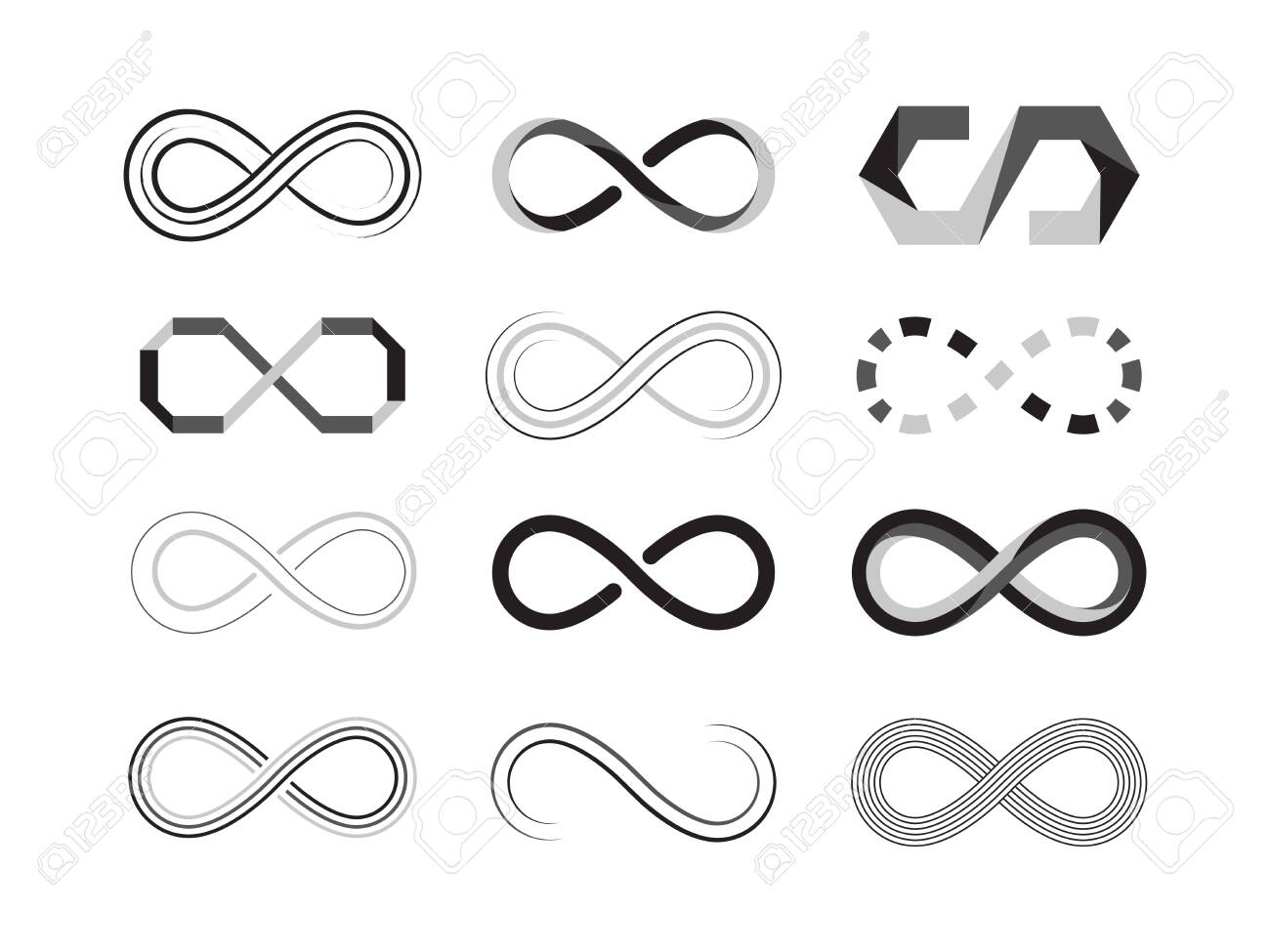 infinity sign. eternity abstract icons of future graphic symbolism. vector illustrations templates isolated - 140838036