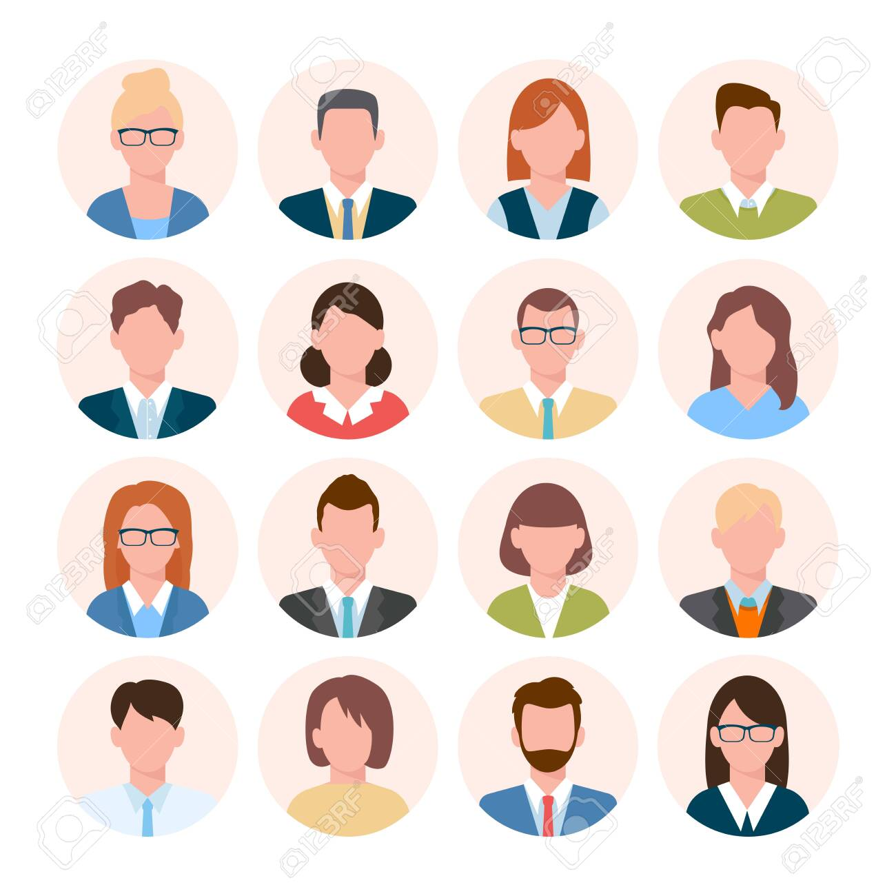Avatars head set. Anonymous user characters student businessman teenager worker female and male portrait different hairstyles, tie, with glasses without. Vector color cartoon. - 147147494
