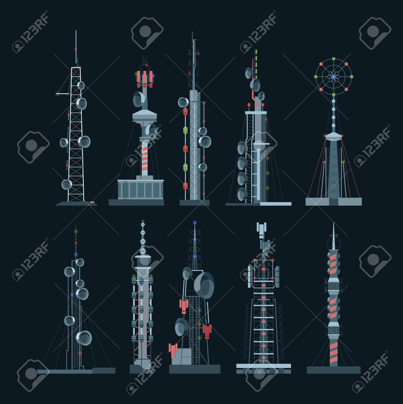 Communication towers cellular set. Amplifiers with towers on dark background wireless telephony internet connections equipment for broadcasting various frequencies global digital cell. Flat vector. - 153689455