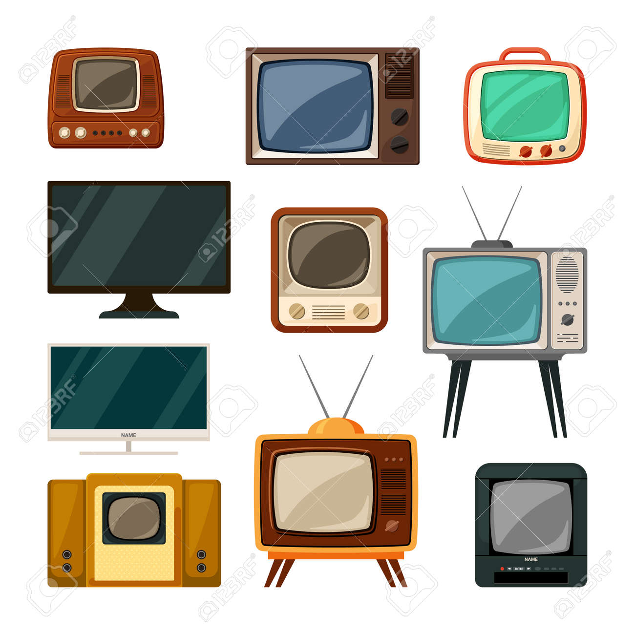 Modern and tube retro televisions set. Plasma smart gadgets and vintage brown tv with small screen old compact signal reception through antenna red built in radio and wood speakers. Vector watch. - 167084382