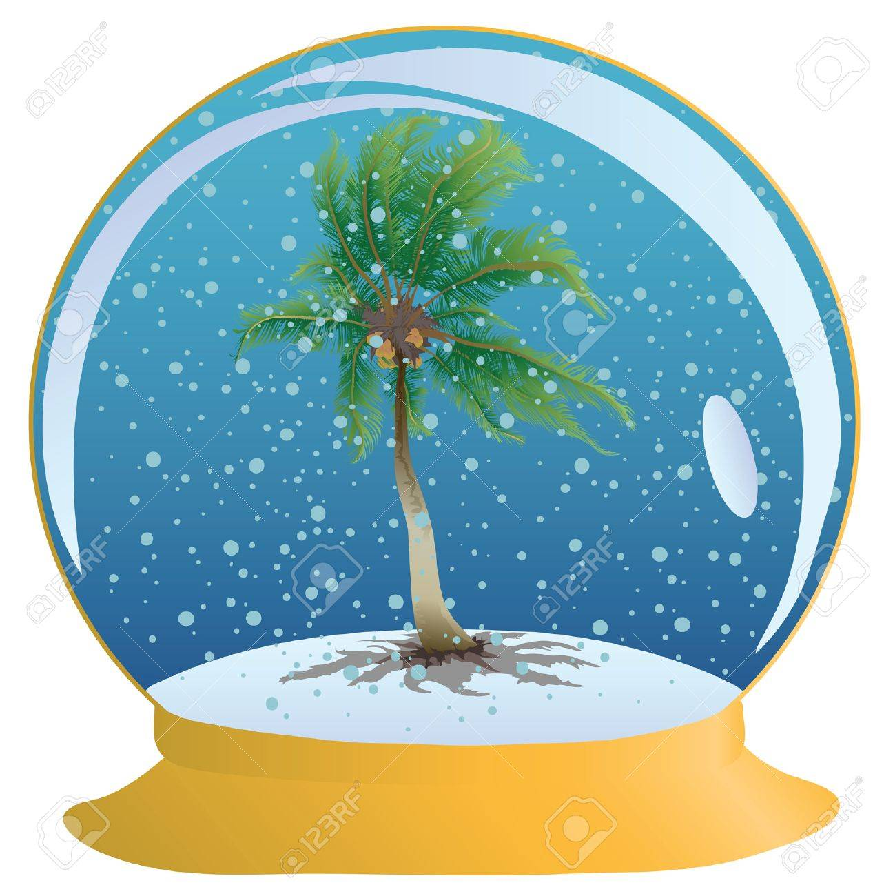 Coconut palm tree in the sphere with a snow Stock Vector - 8655615