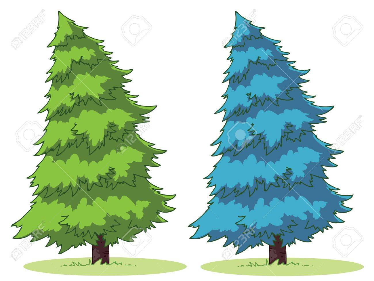 illustration of a cartoon fir tree on a patch of grass royalty