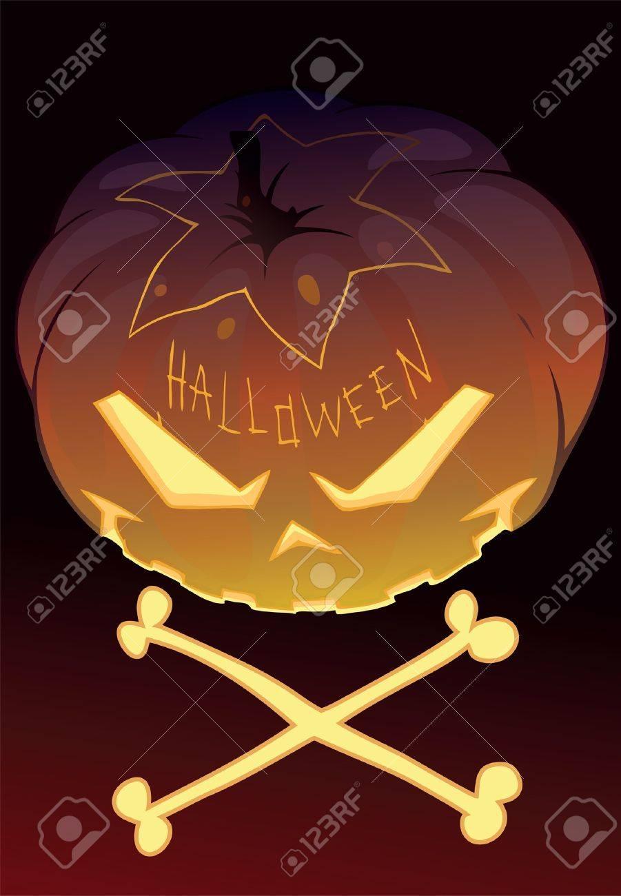 Illustration of a Halloween pumpkin with two bones Stock Vector - 15567318
