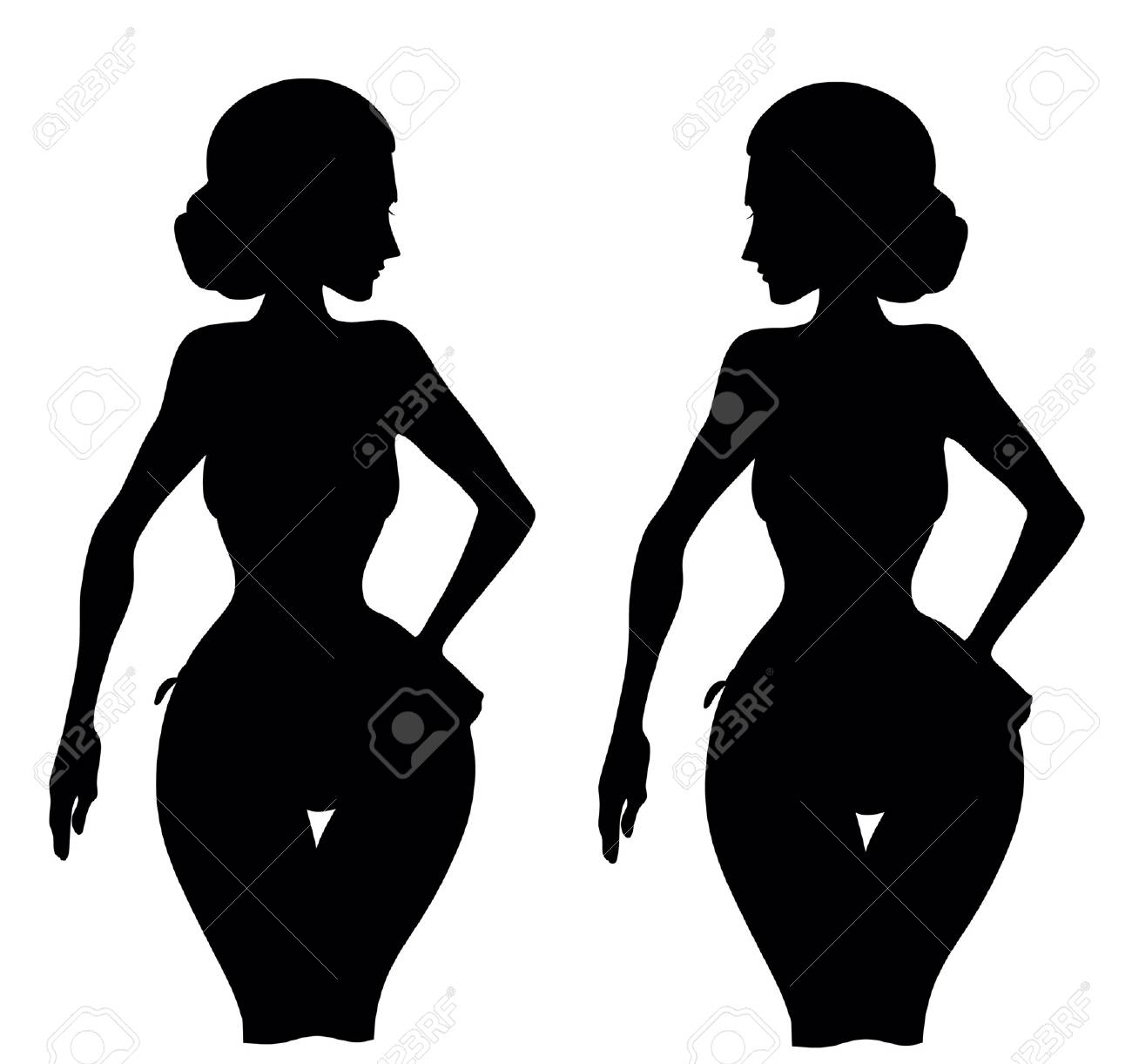 woman silhouette isolated on white background Stock Vector - 16024480