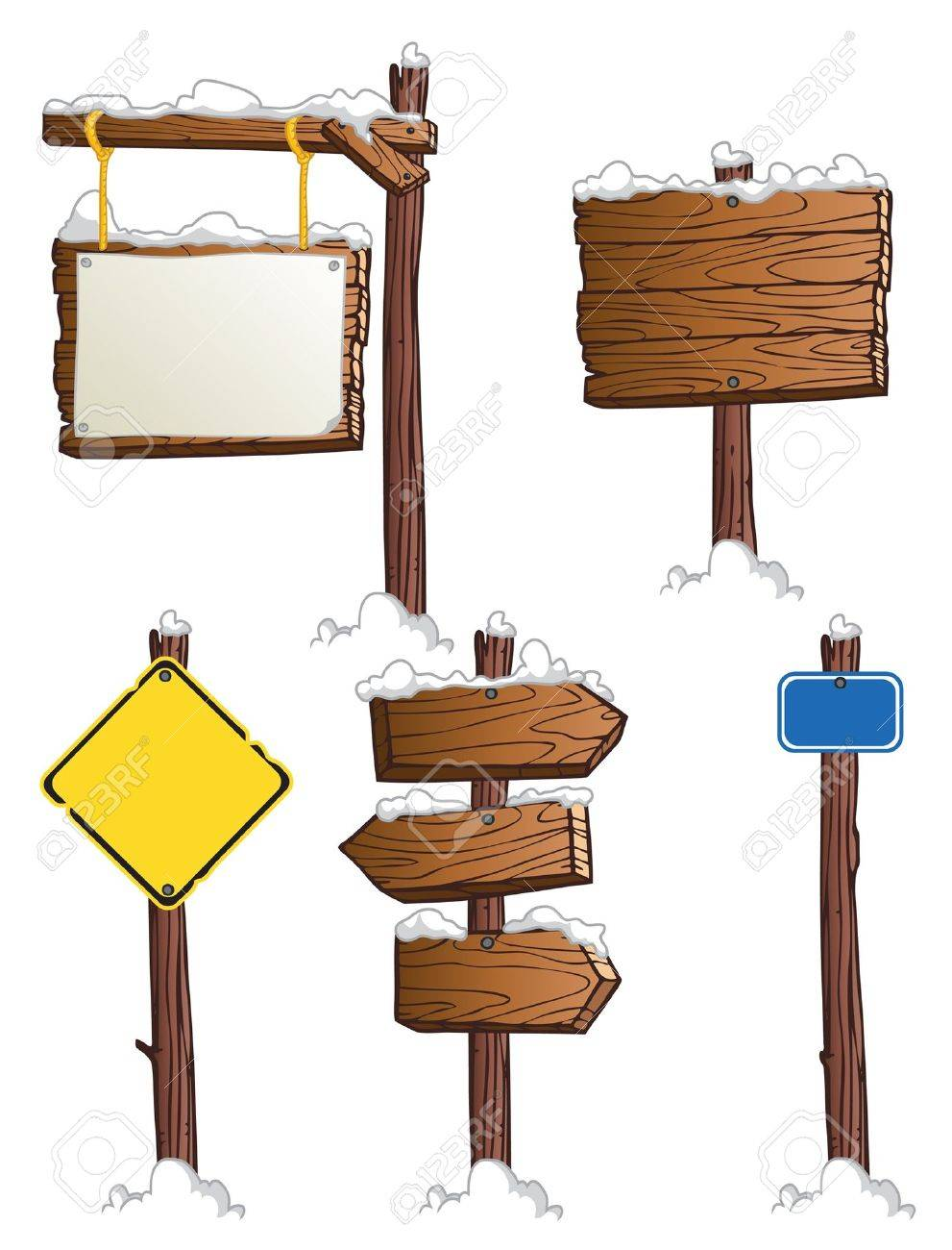 set of wooden road signs Stock Vector - 16576153