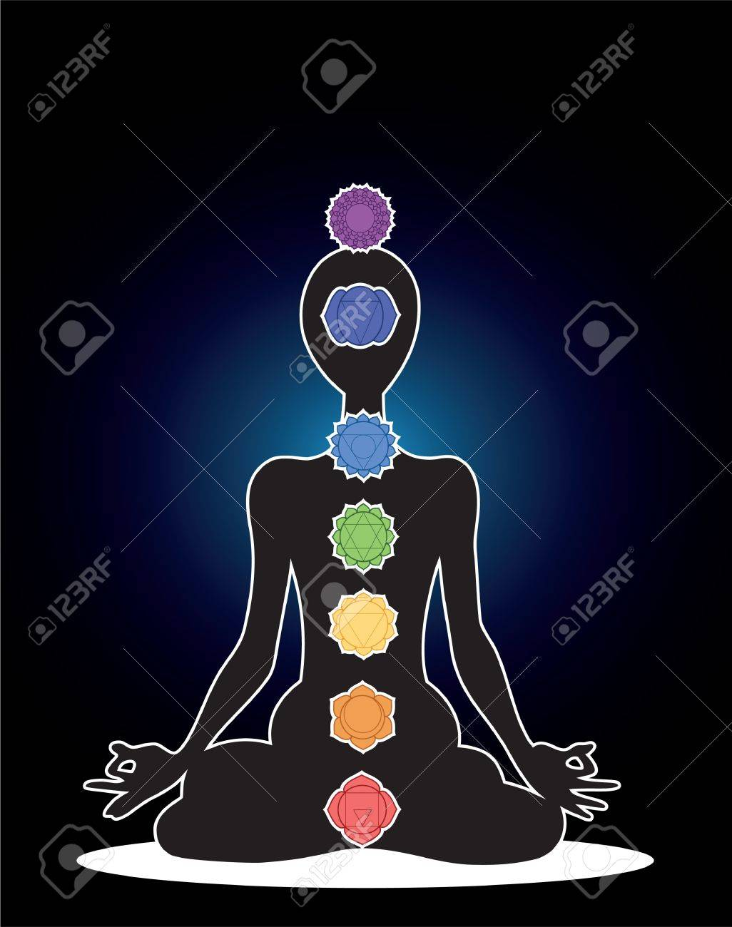 Man silhouette in yoga position with the symbols of seven chakras Stock Vector - 17748253