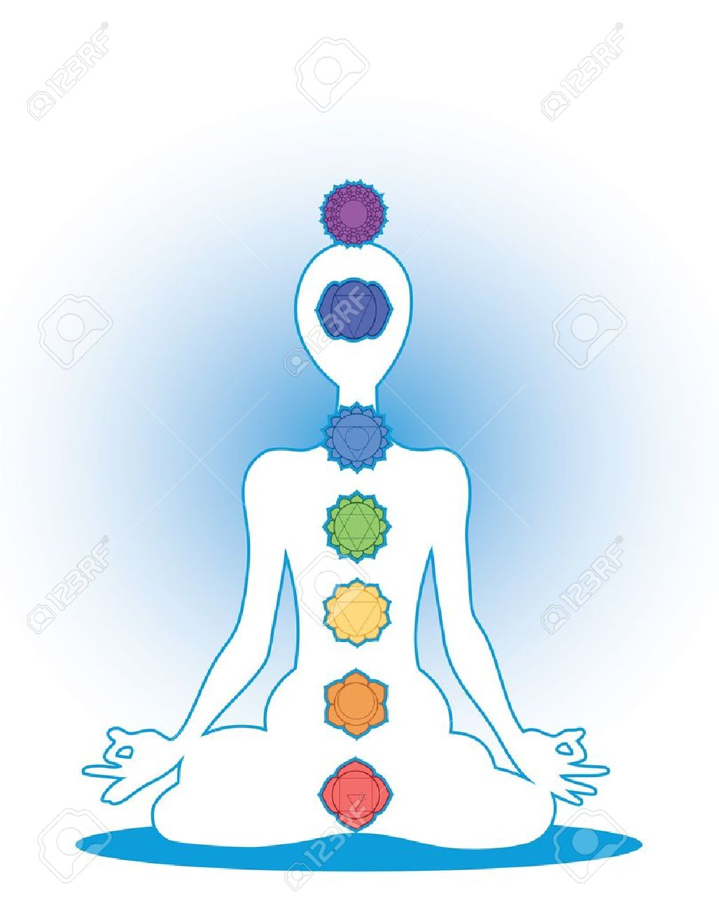 Man silhouette in yoga position with the symbols of seven chakras Stock Vector - 17841858