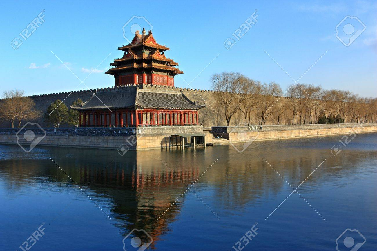 Northwest Corner Of Forbidden Citythe Reflection In The Moat Beijing China Stock