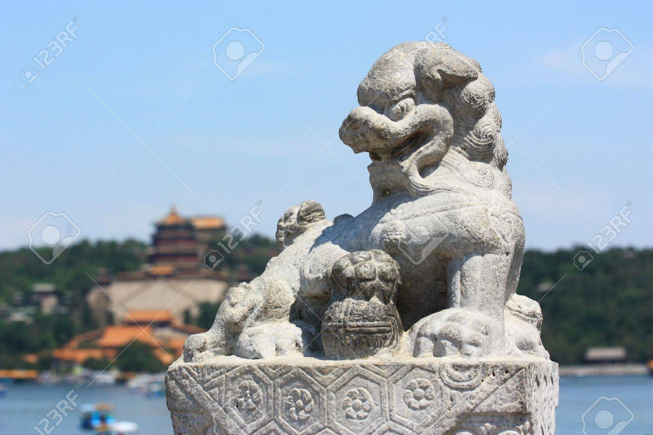 stone lions in summer palace Stock Photo - 10852967