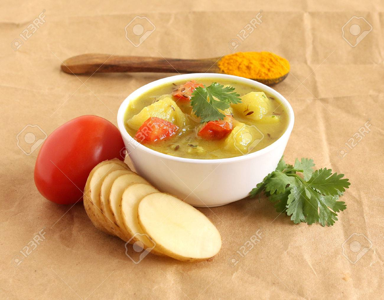 Aloo Sabzi Or Potato Curry Is An Indian Vegetarian Side Dish