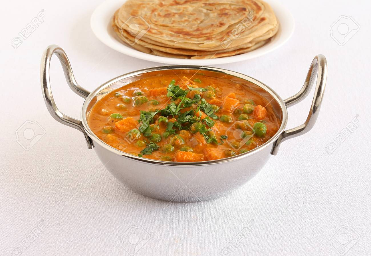 Indian Vegetarian Side Dish Peas And Carrot Curry Cooked In