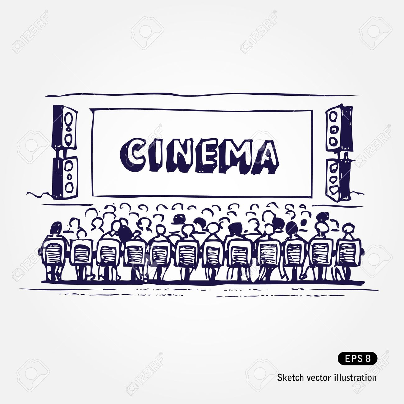 Hand drawn illustration of cinema isolated on white background - 13727661