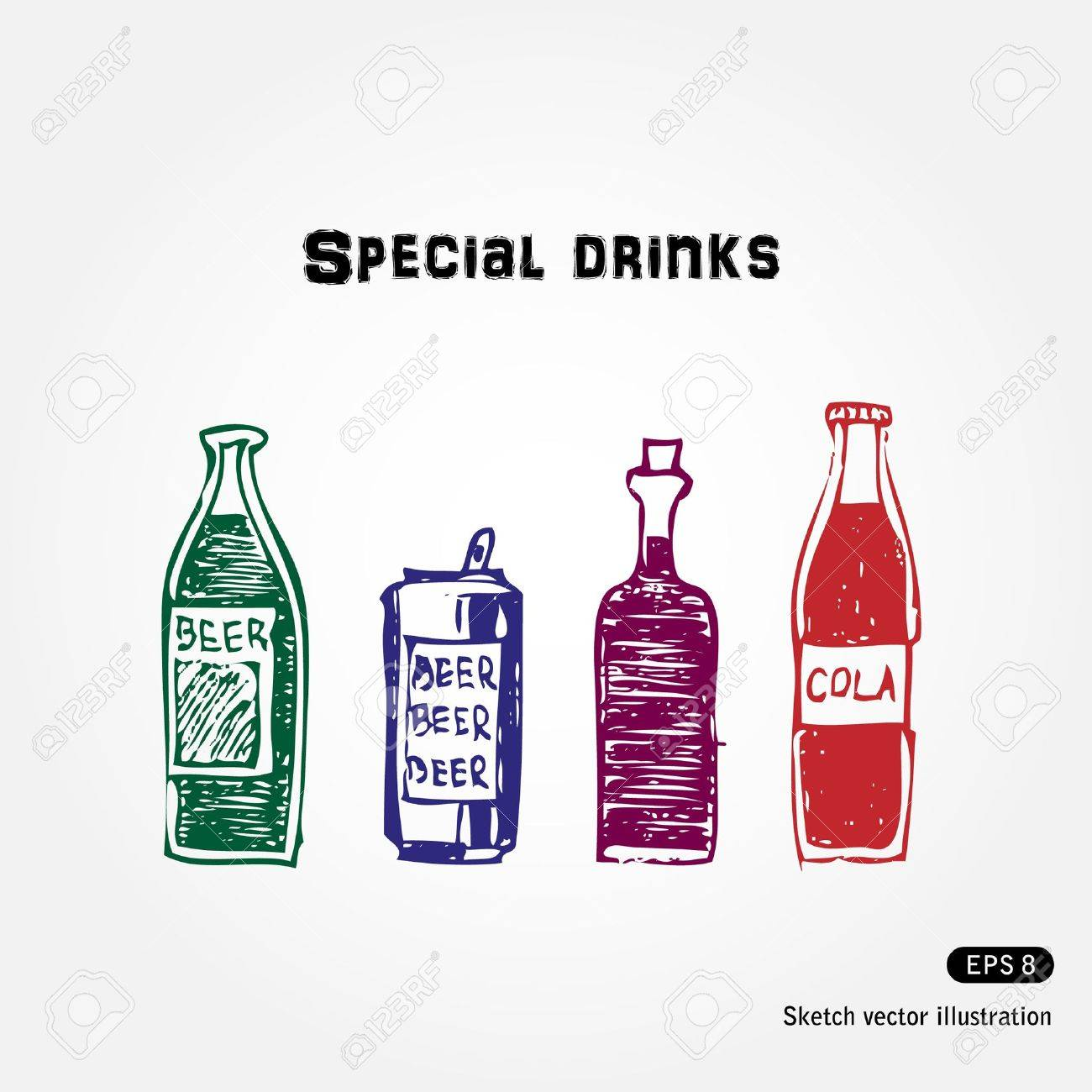Hand drawn drinks set  Isolated on white background Stock Vector - 13727670