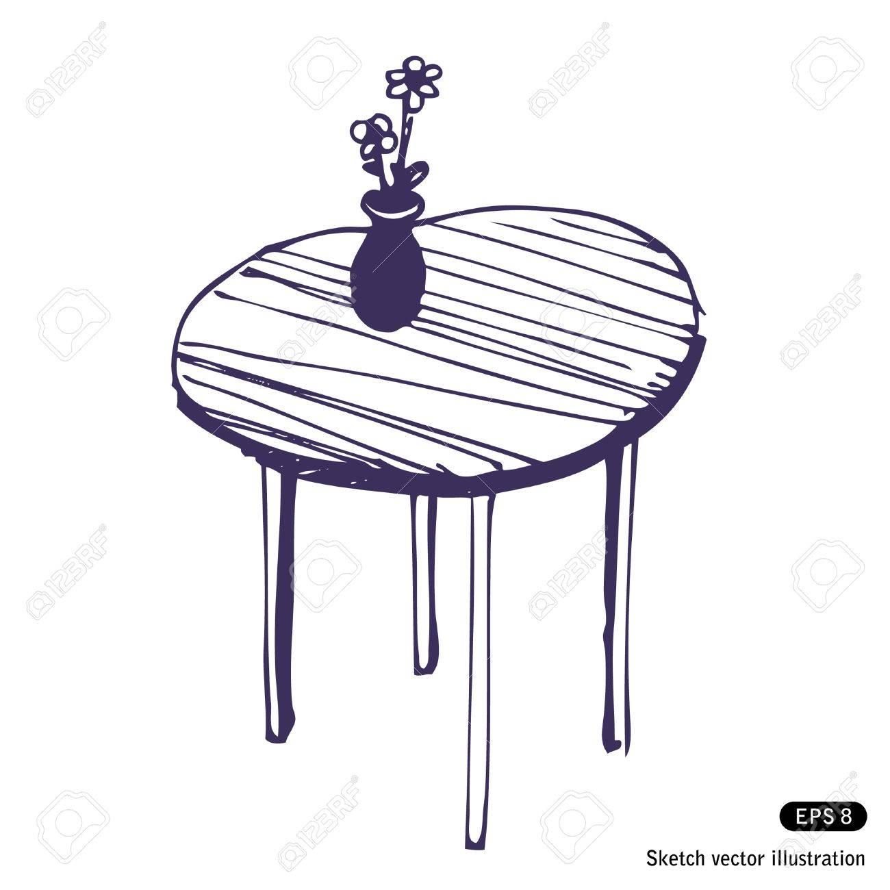 Tisch gezeichnet  Hand Gezeichnet Schönen Tisch Und Vase Mit Blumen Lizenzfrei ...