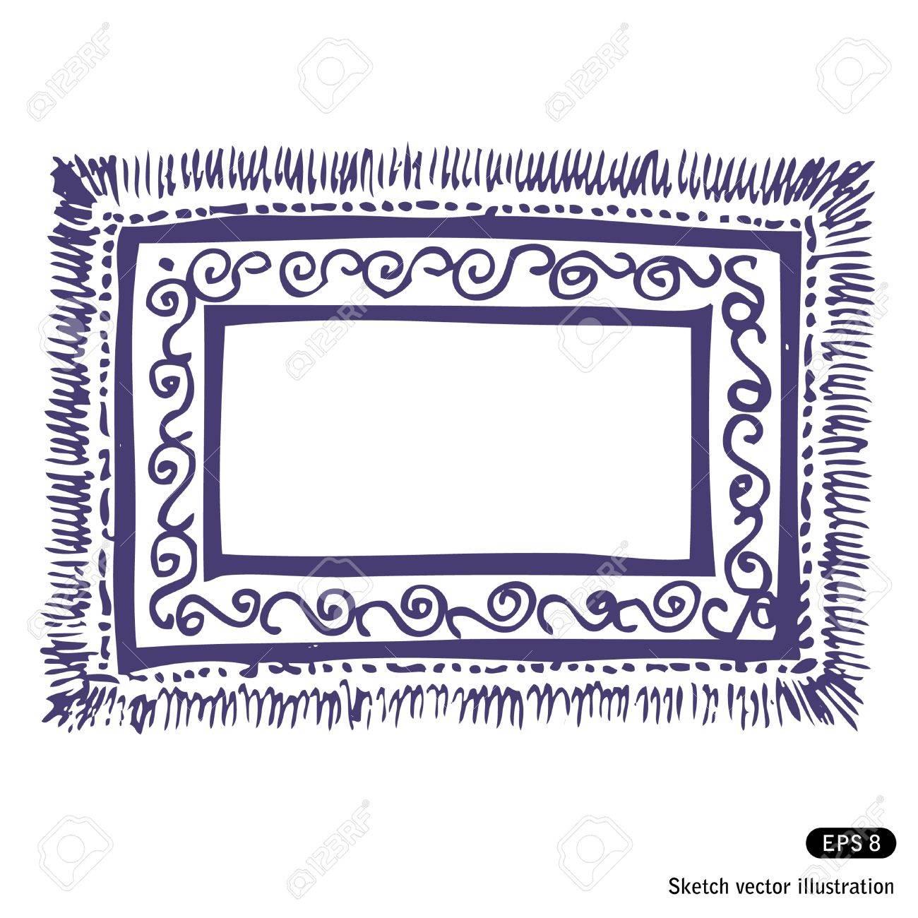 Teppich gezeichnet  Hand Gezeichnet Teppich Frame Isoliert Auf Weißem Hintergrund ...