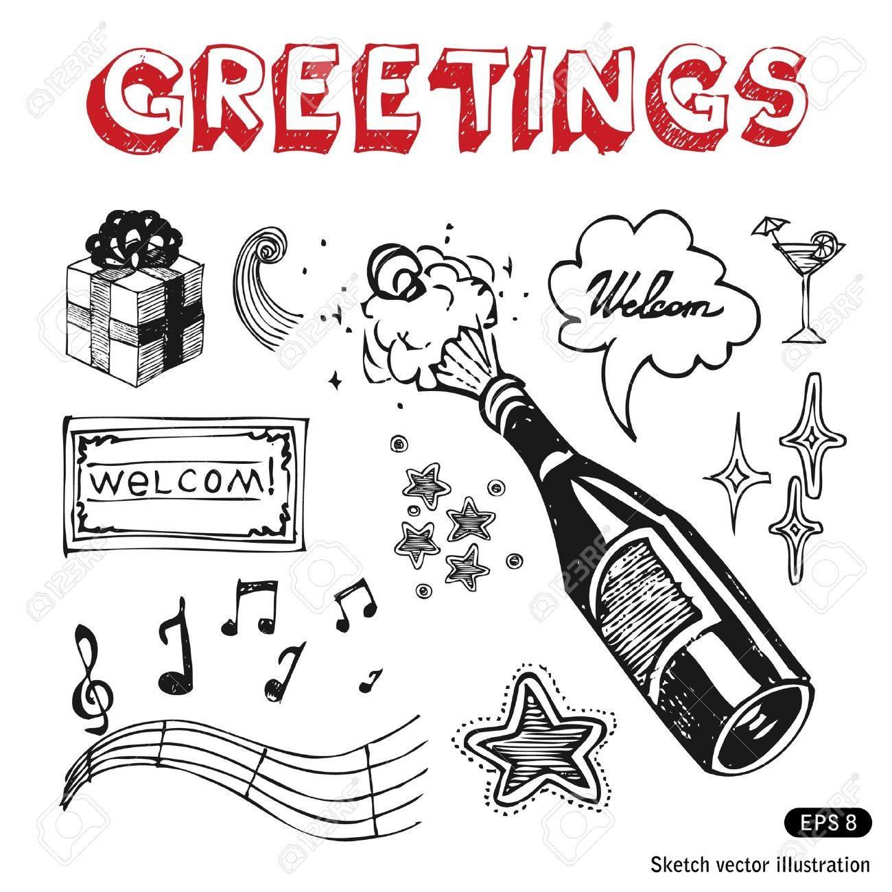 Celebration icons set  Hand drawn vector illustration Stock Vector - 13826785