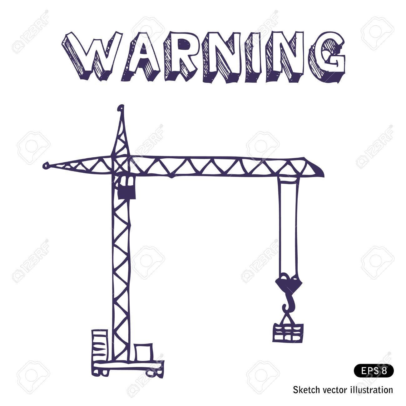 Crane. Hand drawn vector sketch illustration on white Stock Vector - 13826833