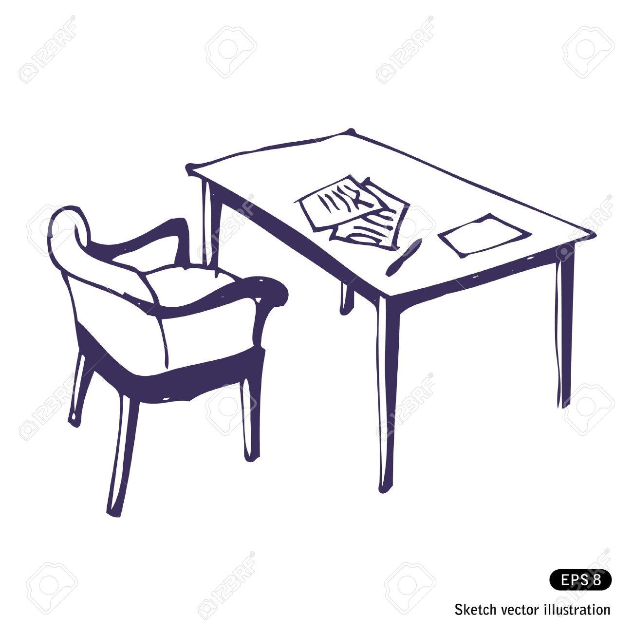 Schreibtisch gezeichnet  Hand Drawn Desk And Chair. Isolated On White Royalty Free Cliparts ...
