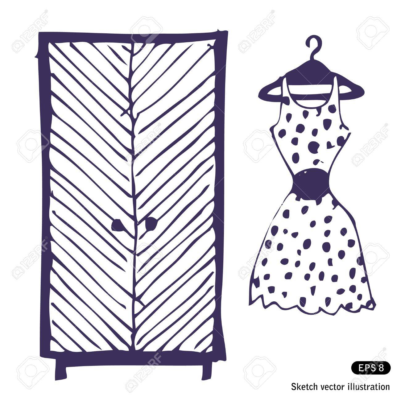 Kleiderschrank gezeichnet  Kleid Und Kleiderschrank. Hand Gezeichnet Vektorabbildung ...