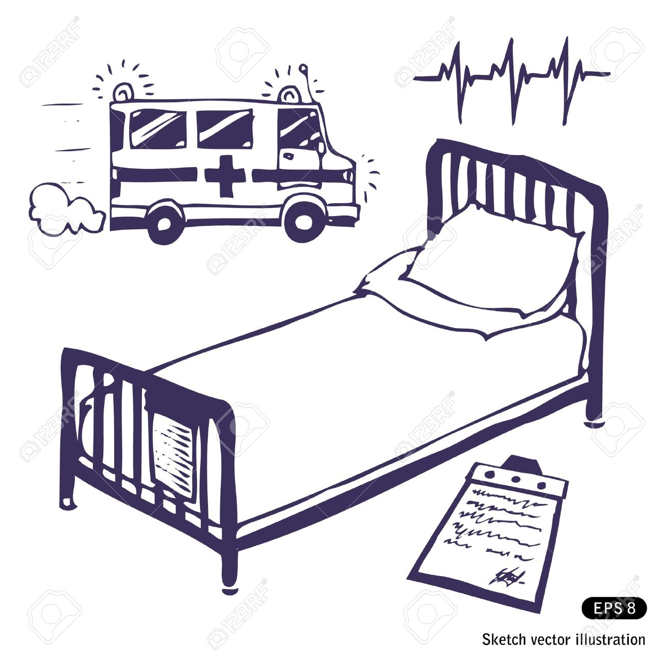 Hospital Bed And Ambulance Hand Drawn Illustration On White Stock Vector