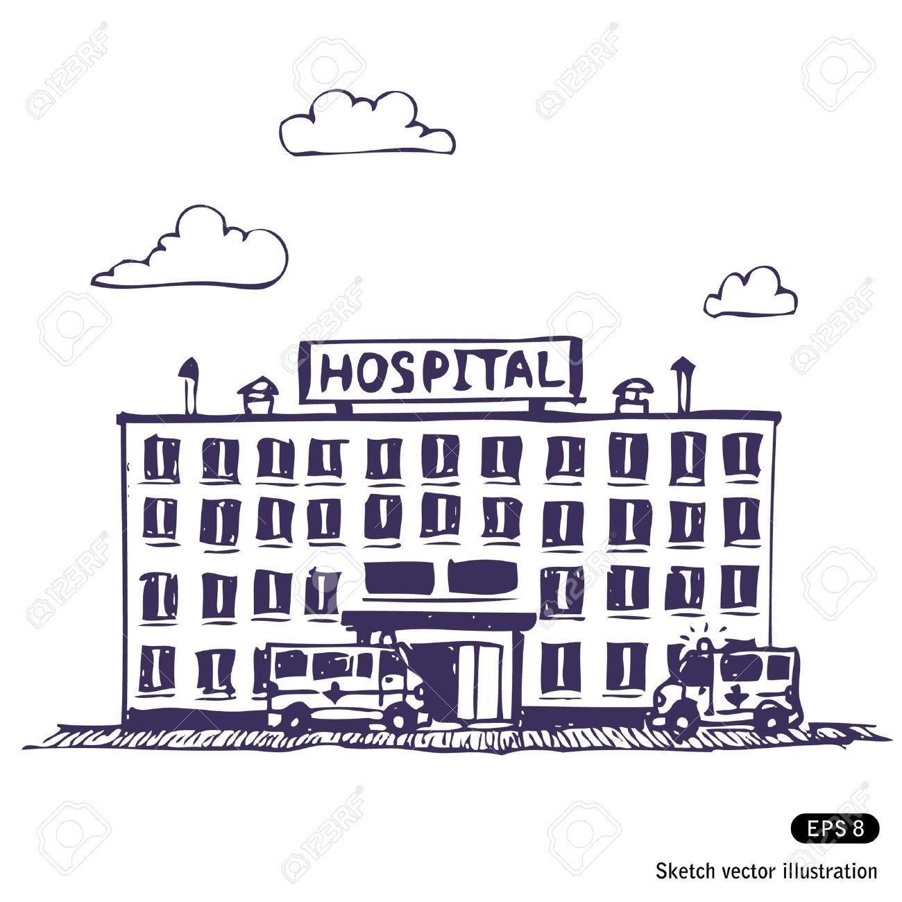 Hospital building. Hand drawn illustration on white Stock Vector - 13850812