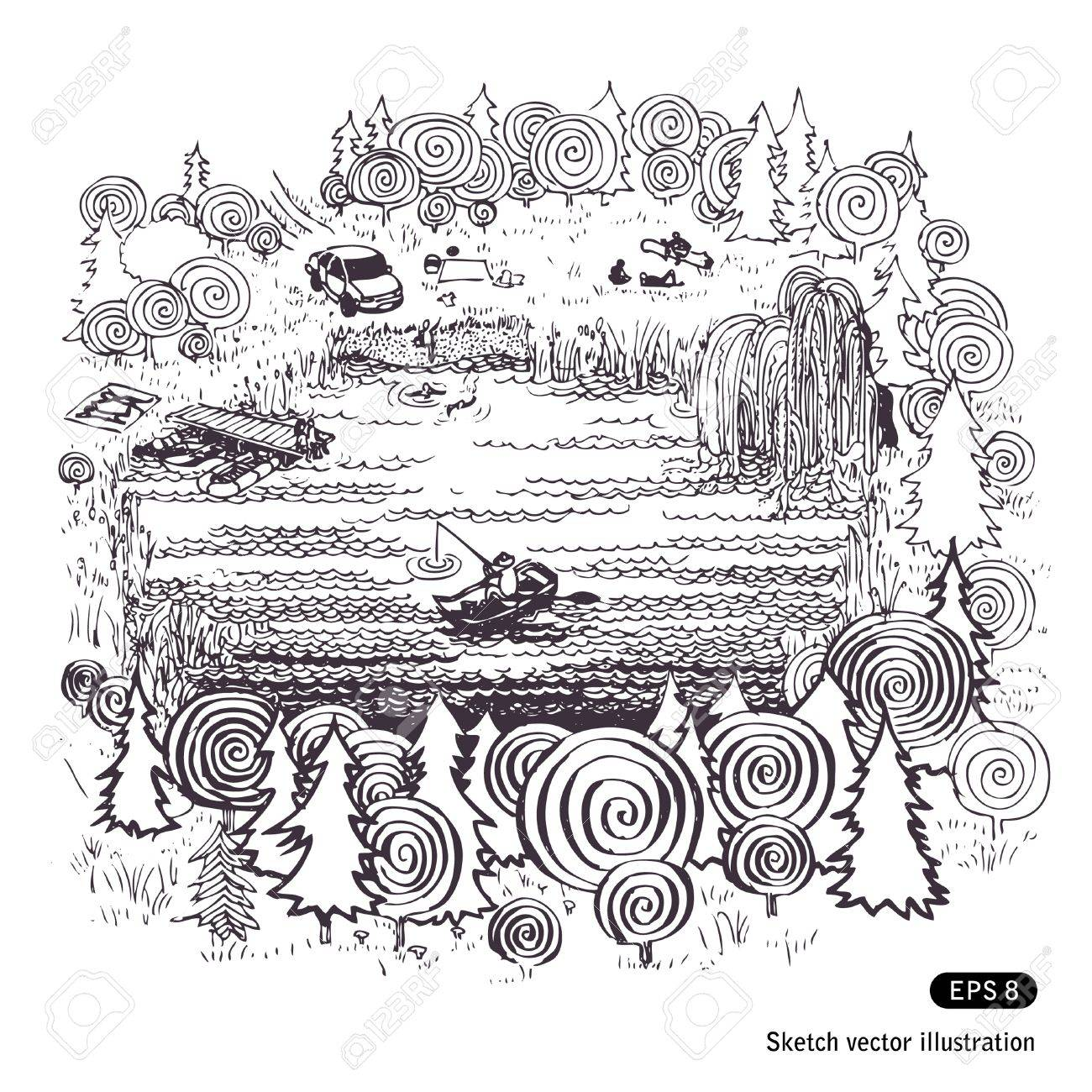 Lake in the woods. Hand drawn illustration on white Stock Vector - 13859297