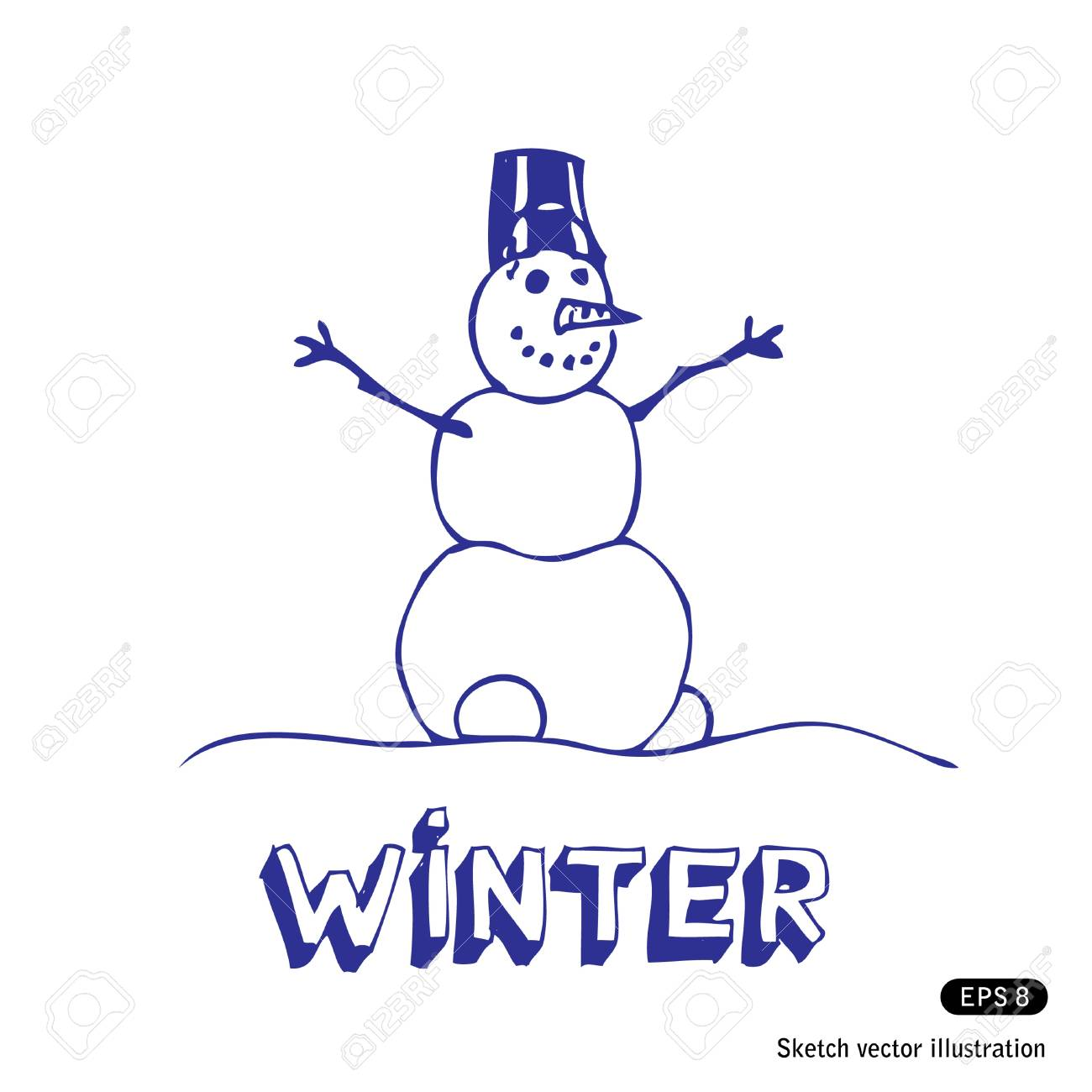 Snowman  Hand drawn isolated on white Stock Vector - 13883118