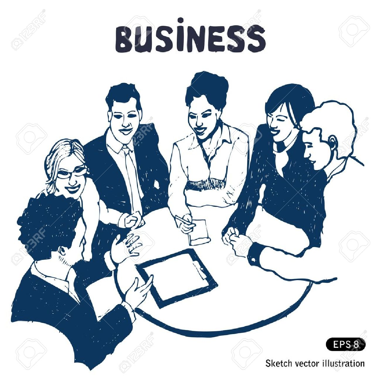 Business group portrait - Six business people working together Stock Vector - 14059392