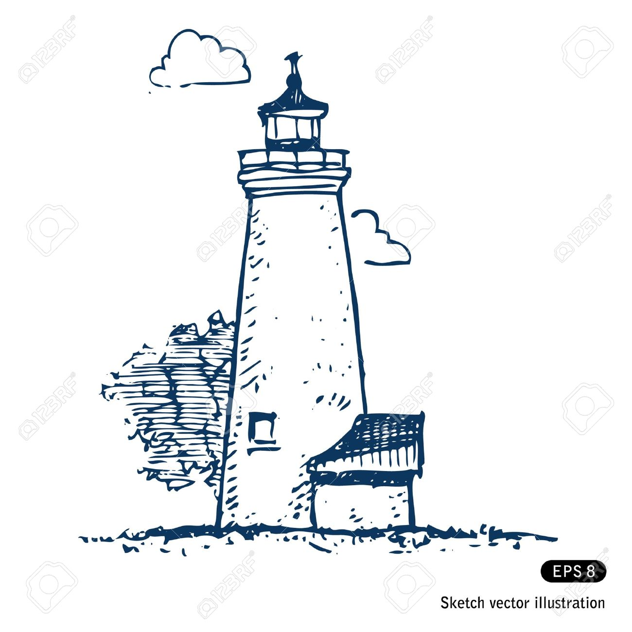 lighthouse hand drawn isolated on white royalty free cliparts