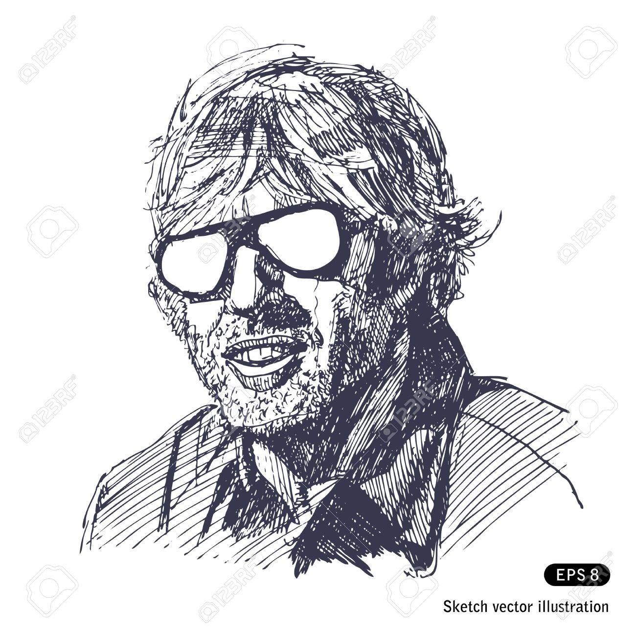 Unshaven man with sunglasses  Hand drawn vector isolated on white Stock Vector - 14290137