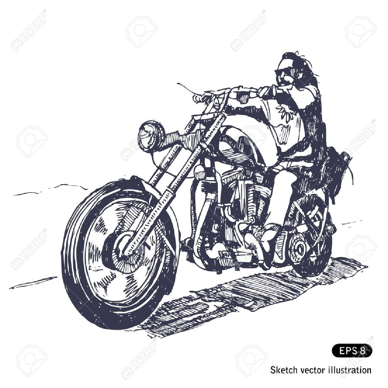 Chopper Motorbike Drawing Motorcycle Rider Biker