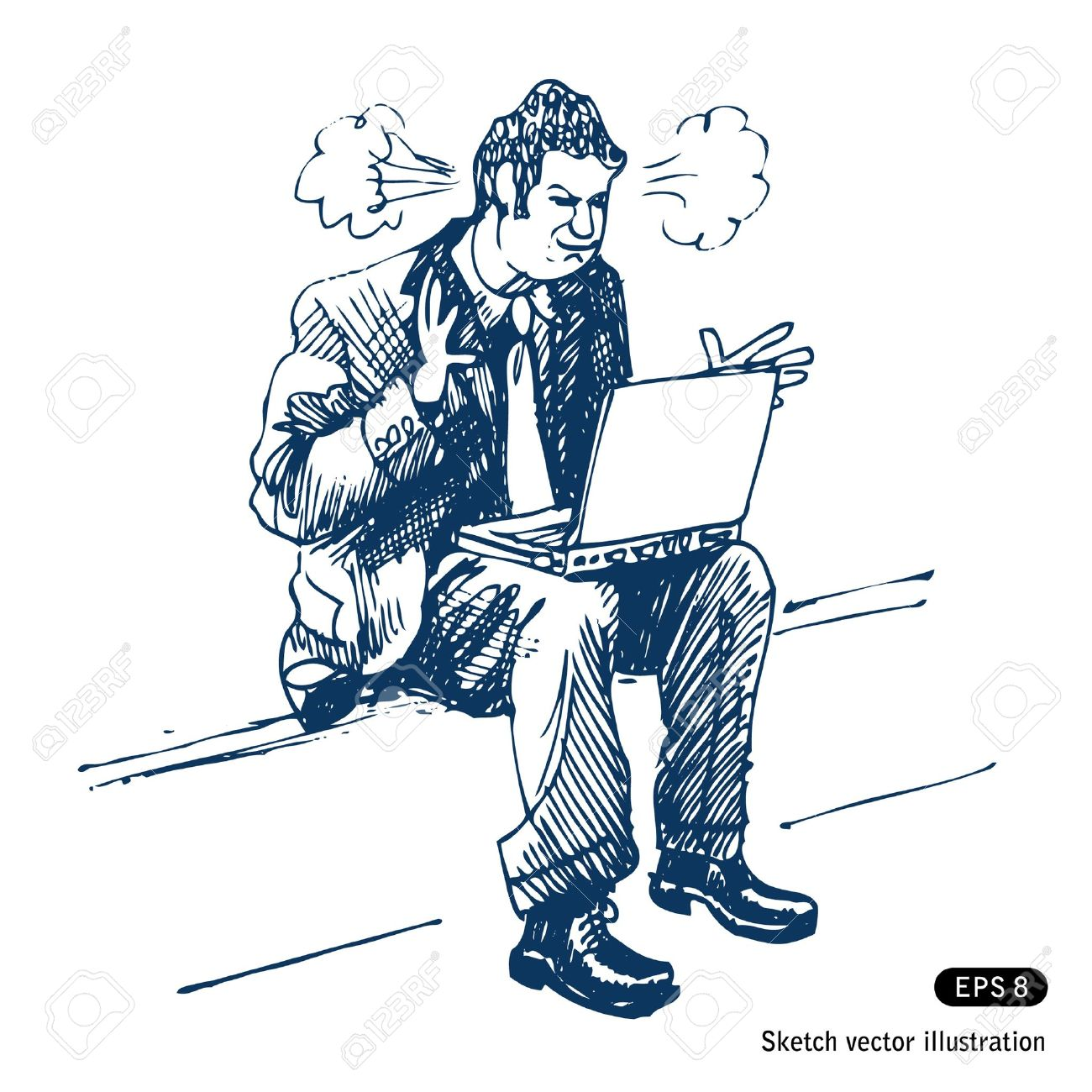 Stressed man sitting on step with laptop. Stock Vector - 14957042