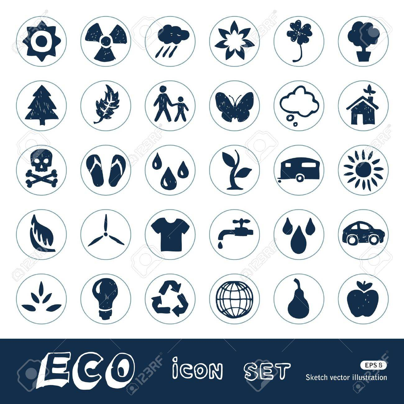 Ecology and nature web icons set  Hand drawn isolated on white Stock Vector - 15070920