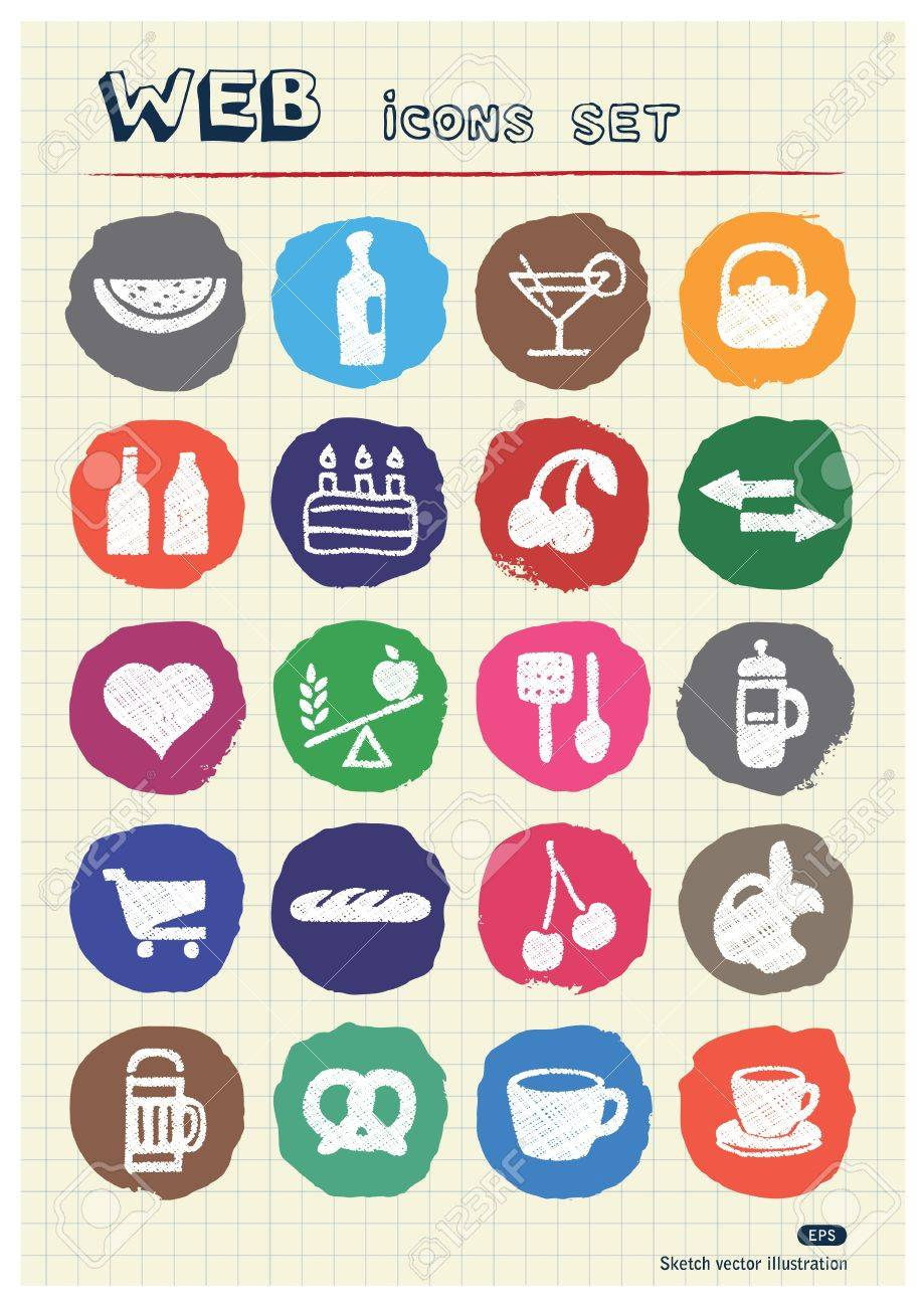Food icons set drawn by chalk  Hand drawn vector elements pack isolated on paper Stock Vector - 17064305