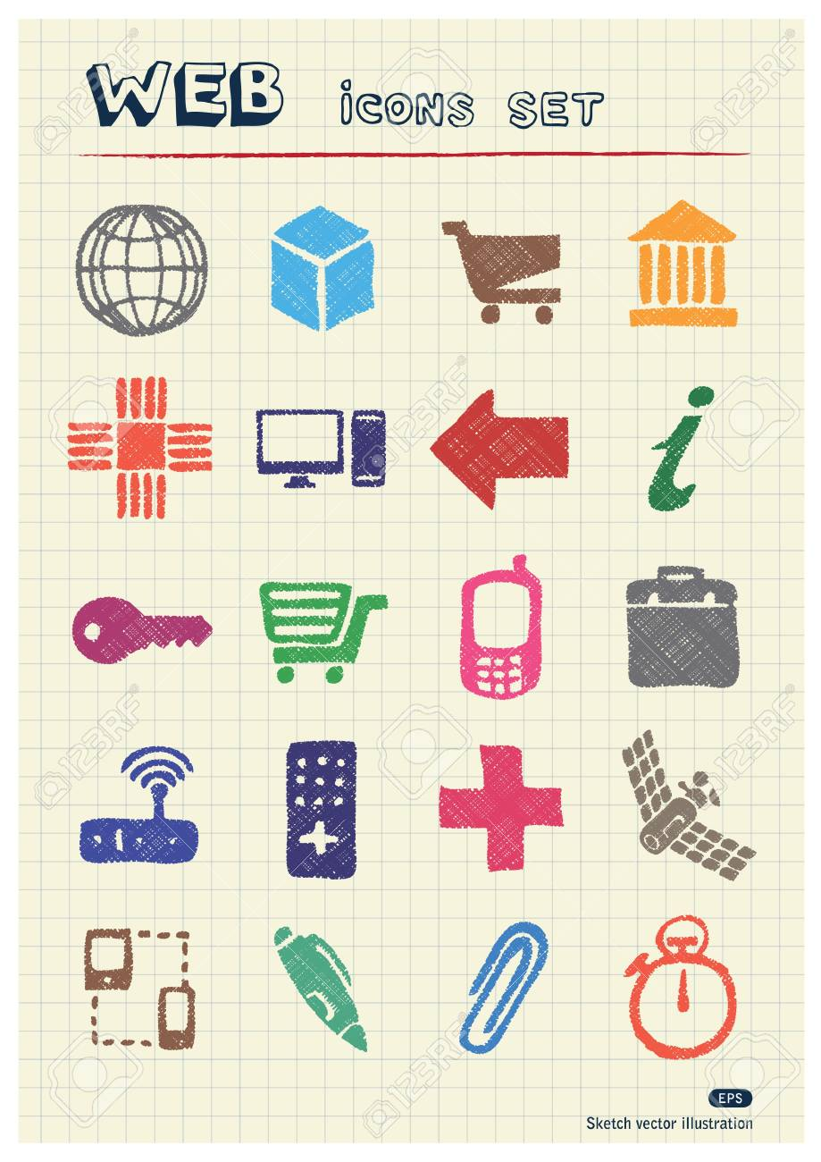 Finance and Internet icons set drawn by color pencils  Hand drawn elements pack isolated on paper Stock Vector - 17138658